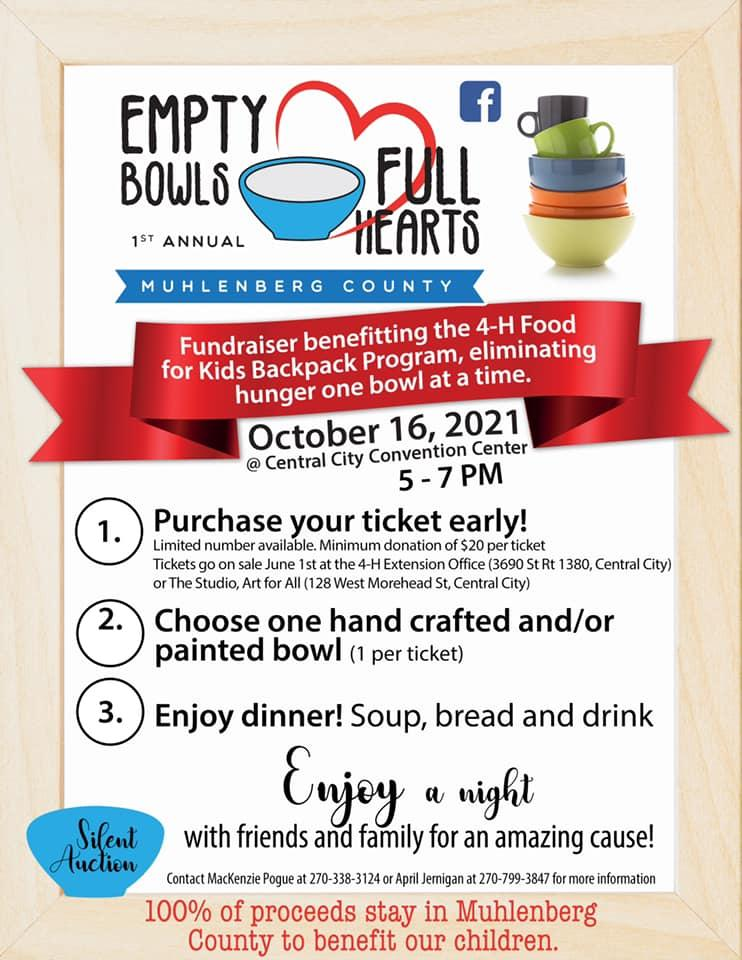 Empty Bowls, Full Hearts fundraiser for the 4-H Backpack Program. Click photo to go to Facebook page with information.