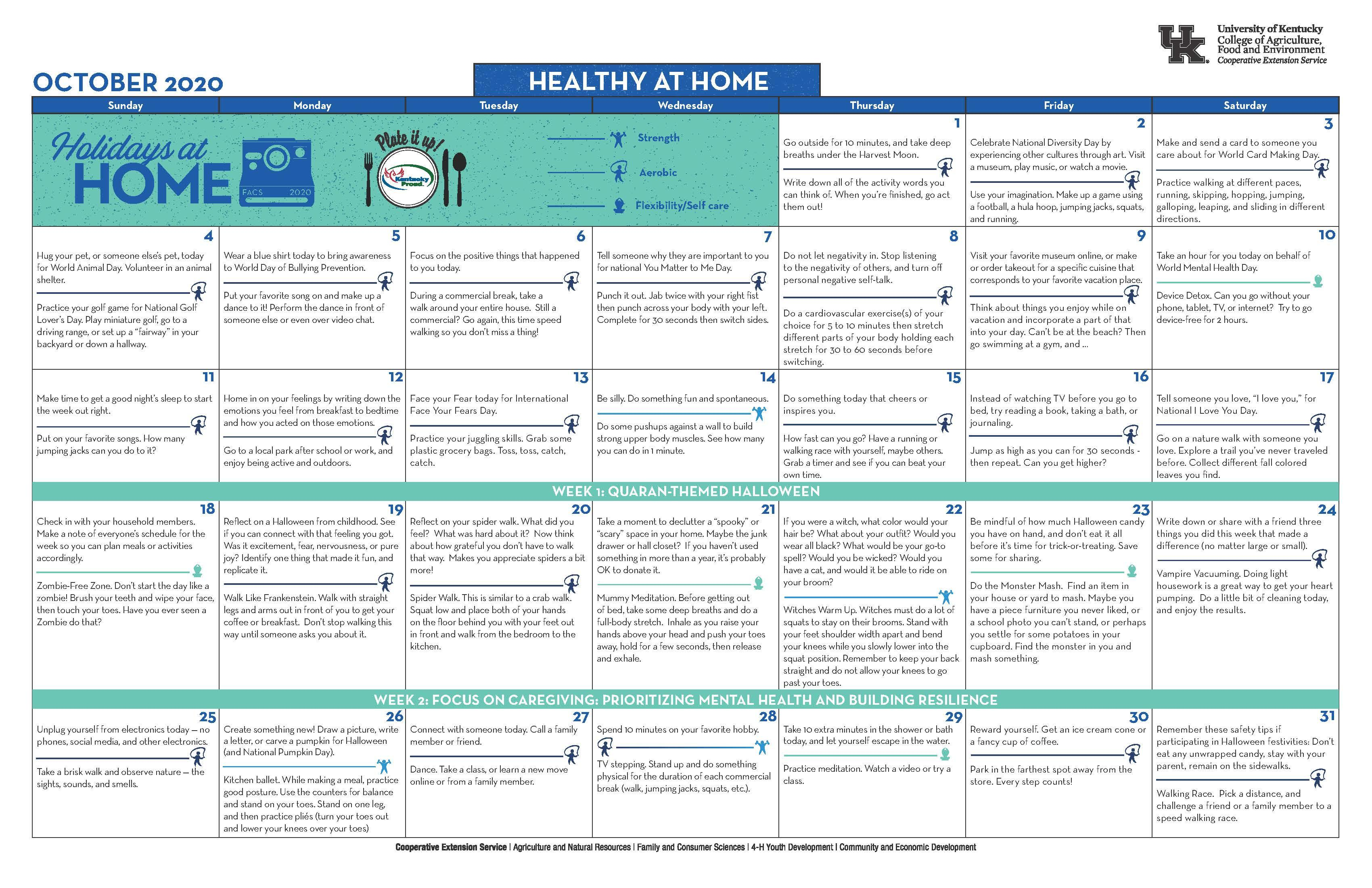 October 2020 Healthy at Home Calendar