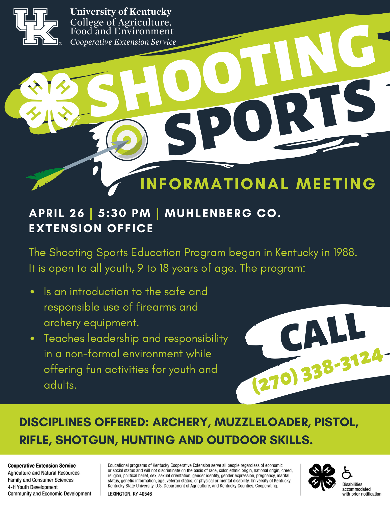 4-H Shooting Sports Informational meeting in-person at the Extension Office on April 26 at 5:30 PM. Attend to find out all about Shooting Sports and how your child can join. This group is for youth ages 9 to 18.